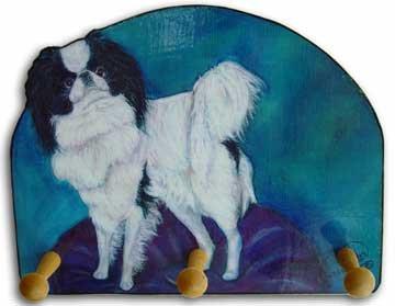 Japanese Chin Dog handmade leash key rack holder chin spaniel dog art