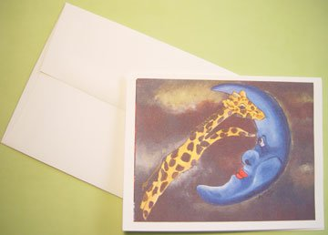 Giraffe jumping over Moon whimsical Art - Personalized Notecards