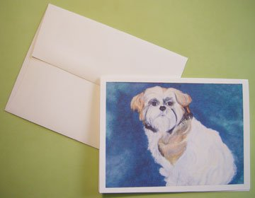 Shih Tzu tricolor dog shih-tzu - Personalized Notecards