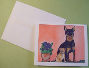 Custom Cards dog art Chihuahua Dog and Puppy Portrait - Personalized Notecards