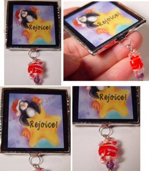 Penguin -Rejoice star Handcrafted Christmas Glass Brooch Pin