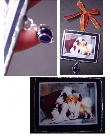 Japanese chin spaniel trio dogs handmade Glass Ornament