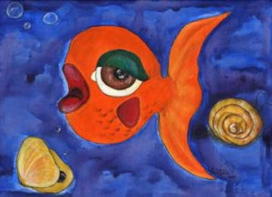 Orange Fish and black pearl Pop - Outsider Art print pop funky art