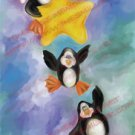 Penguins Trio Art print whimsical digital art painting penguins falling star