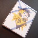 Harlequin clown & Vanilla flower- set of 8 note-cards handmade notecards from artist Ines Miller