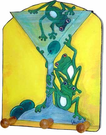 Martini & green frogs drunk froggies Green Martini Catch- Outsider Art key rack holder