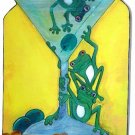 Martini & green frogs drunk froggies Green Martini Catch- Outsider Art key rack holder