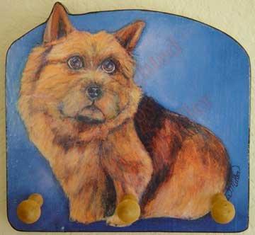 Norwich Terrier Dog Key or Leash - Rack -Holder Leash -Key Holder original dog art