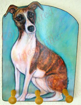 Whippet Hound Dog Key or Leash - Rack -Holder
