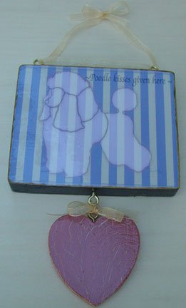 Country French Chic Whimsical Poodle dog kisses wood sign Lilac & Cream  Stripes with hanging heart