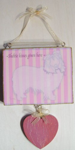 Sheltie dog  kisses given here doggy silhouette wood sign pink & cream Stripes hanging heart