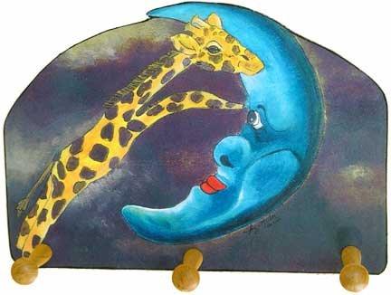 Giraffe jumping Over Moon leash key rack holder whimsical art