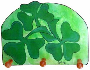 Irish Shamrocks  Clover three leaves lucky shamrock key holder peg rack handmade wood  holder
