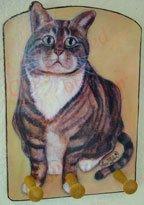 Tabby Cat striped kitty wood leash key rack peg holder handmade gift