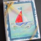 Nautical whimsical Notecards on blue handmade banana paper