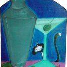 Curious Martini Kitty Leash key rack coat hanger Martini funky art tuxedo cat