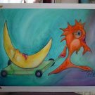 Orange fish pulling Moon Surreal - Surrealism Outsider whimsical  Art Print