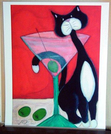 MARTINI COCKTAIL & TUXEDO CAT Outsider - Retro Art Print black & white kitty martini drink