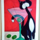 MARTINI COCKTAIL & TUXEDO CAT Outsider - Retro Art Print black & white kitty martini drink