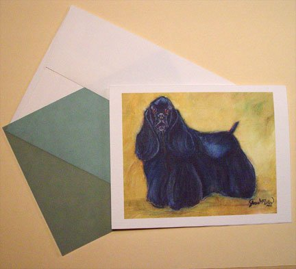 Cocker Spaniel Black American Cocker Spaniel dog  Personalized Notecards set8