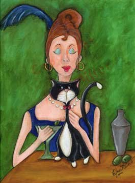 Red Headed lady tuxedo cat martini drink outsider art print