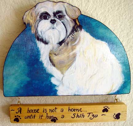 Shih-Tzu tricolor dog personalized wood sign handmade custom  plaque fun doggy art