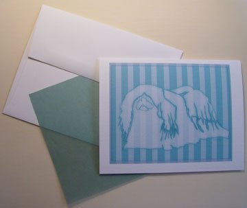 Pekingese dog silhouette - Personalized Notecards whimsical stripes dog art note-cards aqua blue
