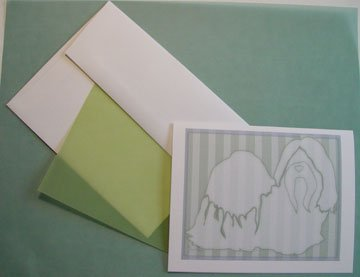 Shih Tzu dog silhouette Personalized Notecards whimsical GREEN stripes linen cards custom note-cards