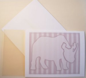 Rhino silhouette Personalized Notecards CHOCOLATE stripes whimsical art