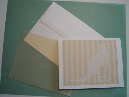 Kangaroo silhouette portrait Personalized Notecards whimsical stripes Soft Honey Yellow
