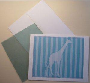 Giraffe  silhouette portrait Personalized Notecards whimsical stripes Aqua Blue