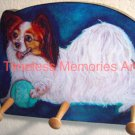 Papillon dog handmade wood leash holder rack key holder whimsical handcrafted gifts