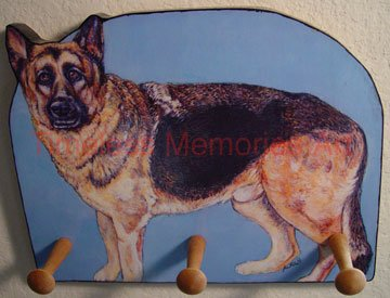 German Shepherd Wood leash key rack peg holder handmade decorative gifts