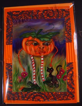 Greeting Card pumpkin and Black Kitty Halloween handmade greeting cards surreal