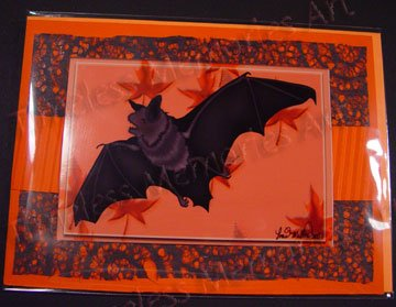 Bat Handmade Greeting Card autum leaves flying bat greeting cards