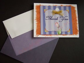 Tulip whimsical lilac stripes THANK YOU Notecards on rust handmade banana paper