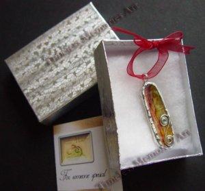 Pendant Cat's tongue handmade glass pendants  Raspberry & yellow  dripping stripes
