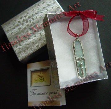 Handmade glass pendant cat's tongue pendants tear drop ornate design