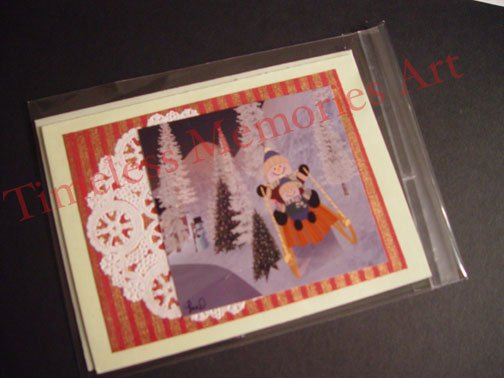 Handmade greeting card Snowman on sleigh white Christmas cards
