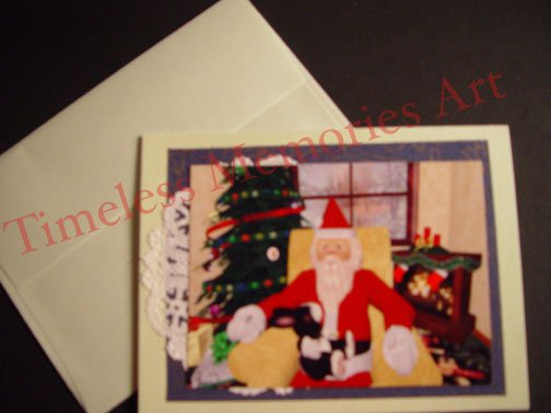 bunny on Santa's lap handmade Santa Claus GREETING CARD Christmas card warm xmas