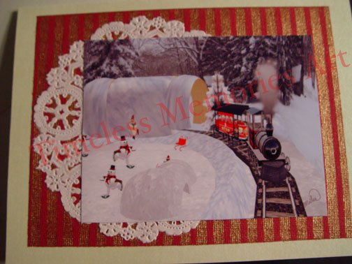 Greeting card handmade Choo-Choo Train whimsical white Christmas cards smowman skating