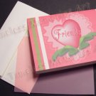 Greeting Card Handmade Cards Pink Heart FRIENDS Valentine floral lace whimsical pinky  heart