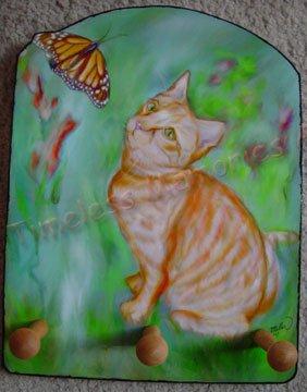 Cat Orange Tabby kitty  stripes Monarch butterfly Key Leash Rack Holder