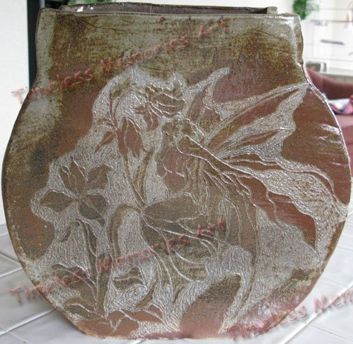 Rustic Iris flowers Fairy ceramic vase Art Pottery vessel handmade sgraffito art pottery