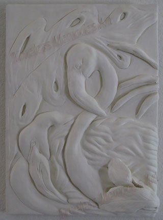 FLAMINGO Flamingos Bass Relief HIGH RELIEF PLASTER SCULPTURE