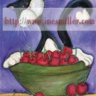 Tuxedo cat cherry bowl Outsider whimsical art NOTECARDS custom note cards set8