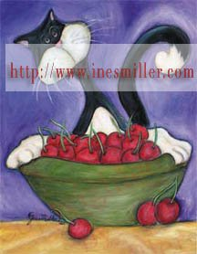 Tuxedo cat cherry bowl Outsider whimsical art NOTECARDS custom note cards set8