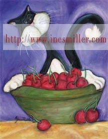Kitty Tuxedo cat cherry bowl Outsider whimsical art NOTECARDS custom note cards set 12