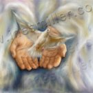 Dove God hands White dove release Digital art painting  print