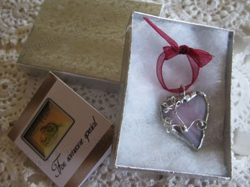 Handmade jewelry pink heart soldered glass pendant whimsical curly embellish - wearable jewelry art